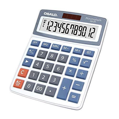 Taschenrechner, groß, 30 Tasten, 12 Ziffern, extra großes LCD-Display, Solarelektronik, Tischrechner OS-3M
