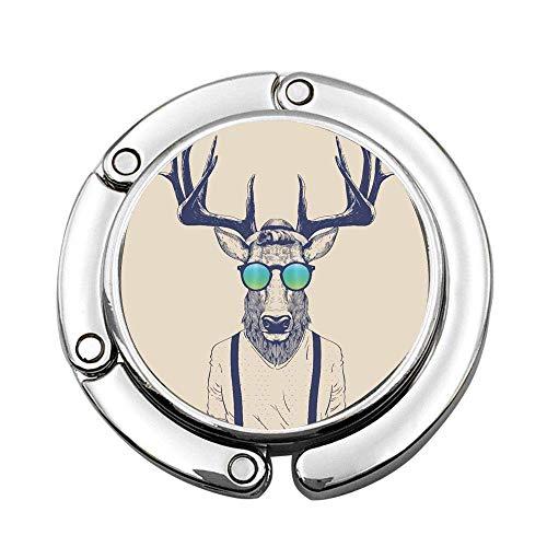 Ciervo Disfrazado como Cool Hipster Plegable seora Bolso Mesa Escritorio Gancho Gancho Monedero Soporte para suspensin de Mesa
