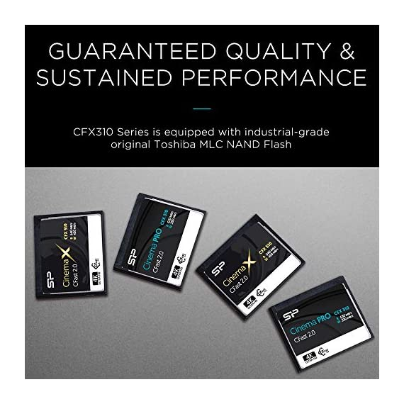 Silicon Power 128GB CFast2.0 CinemaPro CFX310 Memory Card, 3500X and up to 530MB/s Read, MLC, for Blackmagic URSA Mini… 2 EXCELLENT PERFORMANCE FOR 4K UHD CINEMATIC CAMERAS AND PROFESSIONAL CAMCORDERS- Designed for professional photographers and videographers, the CFX310 features superior performance that enables uninterrupted and cinema-quality 4K video recording. BLACKMAGIC APPROVED- Blackmagic approved and 2160p ProRes 422 HQ 60fps certified. The CFX310 delivers ultra-fast speed of up to 530 MB/s read that lets you quickly transfer large files from the card to your computer. MULTIPLE TECHNIQUES SUPPORTED - Supports Power Shield/ Global Wear-Leveling/ Advanced Garbage Collection/ TRIM /DEVSLP