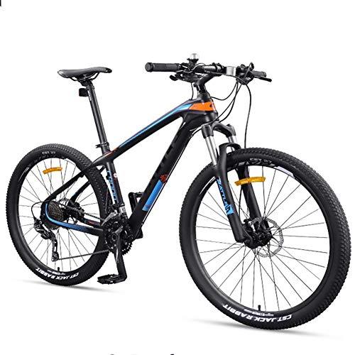 Xiaoyue 27,5 Zoll Erwachsene Mountain Bikes, Ultra-Light Carbon Fiber-Rahmen Mountain Trail Fahrrad, Doppelscheibenbremse Männer Frauen Hardtail Berg Fahrrad, Gelb, 30 Drehzahl lalay