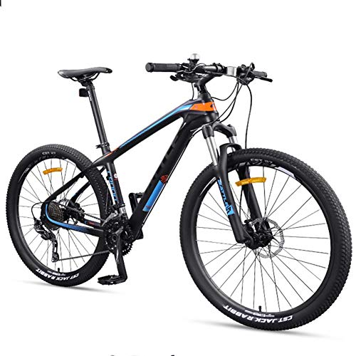 27.5 Inch Adult Mountain Bikes, Ultra-Light Carbon Fiber Frame Mountain Trail Bike, Dual Disc Brake Men Women Hardtail Mountain Bicycle Mountain Bikes