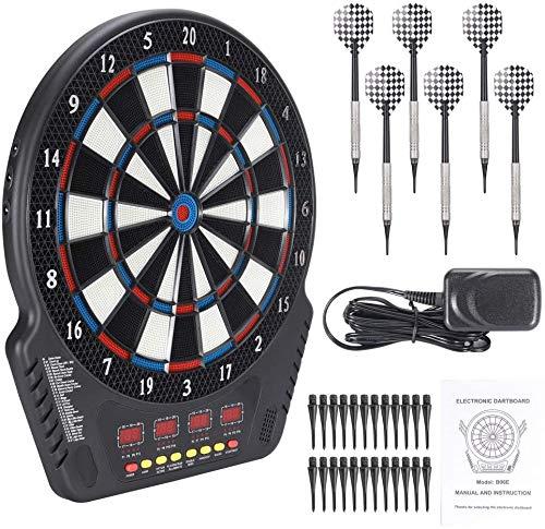 InLoveArts Elektronische Dartscheibe Automatische Wertung Soft Darts,Elektronische Soft Tip Dartscheibe,27 Spielmodi und 243 Varianten,16 Spieler nehmen Teil,Unterhaltung mit Familie/Freunden-6 Darts