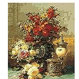 DUKEMG Peinture à l'huile de Bricolage Peinture par numéro Kits Bouquet de Fleurs Toile Imprimer Wall Art Home Décorer Cadeau 40x50cm avec brosses encadrées