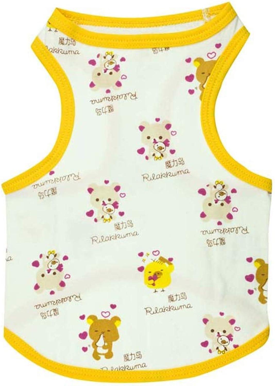 Huayue Dog Clothing Cotton Printed Yellow pet Vest pet Clothing pet Clothing (color   As Shown, Size   L)
