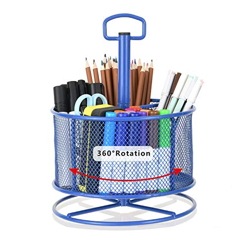 Marbrasse Mesh Desk Organizer,360-Degree Rotating Multi-Functional Pen Holder,4 Compartments Desktop Stationary Organizer, Home Office Art Supply Storage Box Caddy Rack (Blue)