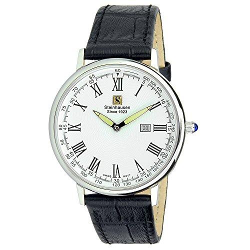 Steinhausen Altdorf Collection Uhr S0122 (Edelstahl / Schwarzes Lederband / Weißes Zifferblatt)