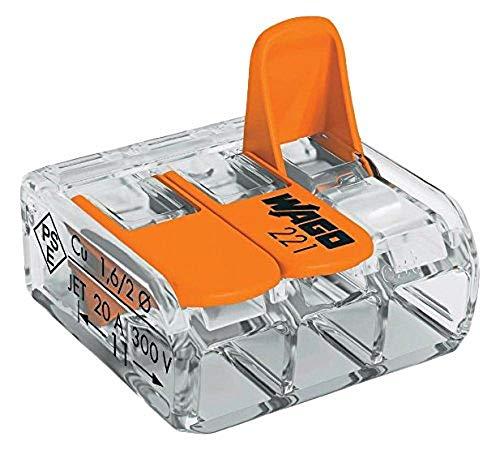 Wago WAG221344_BL5 Pack de 5 Bornes de connexion universelle tous conducteurs Type 221/ 3 entrées