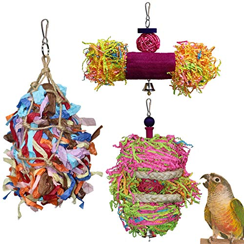 RYPET Bird Shredder Toys - Parrot Foraging Hanging Toy for Cockatiel Conure African Grey Amazon (3 Pack)
