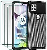 ivoler Funda para Motorola Moto G 5G, con 3 Unidades Cristal Templado, Fibra de Carbono Carcasa Protectora Antigolpes Negro, Suave TPU Silicona Caso Anti-Choques Case Cover