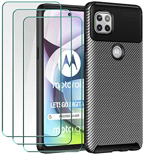 ivoler Hülle für Motorola Moto G 5G, Handyhülle mit 3 Panzerglas Schutzfolie, Schwarz Stylisch Karbon Design Anti-Kratzer Stoßfest Schutzhülle Cover Weiche TPU Silikon Hülle