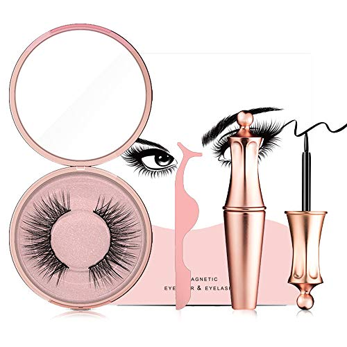 Magnetic eyelashes, Magnetic false eyelashes, 3D false Eyelashes Reusable without Glue, Comes with eyelash curler, Magnetic eyeliner, Eyelash box, Mirror, Smooth and waterproof, Handmade Ultra-thin.