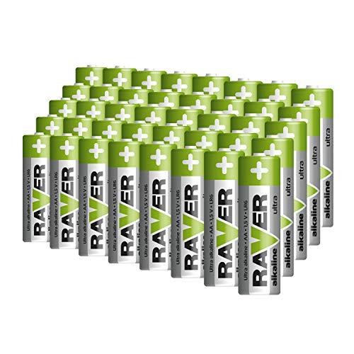 RAVER Ultra Alkaline AA Mignon Batterien / 40er Pack / 1,5 V / LR6 / 7 Jahre lagerfähig