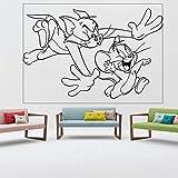 Jerry mouse etiqueta de la pared habitación de los niños vivero de dibujos animados arte de la pared etiqueta de vinilo decoración de interiores lindo tom cat kid calcomanía regalo