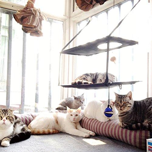 L.S 猫ハンモック キャット 窓 ベッド 猫窓台ハンモック 猫ベッド 猫ちゃんハンモック 2階式 窓取り付けタイプ 吸盤ハンモック 取り付け簡単 リバーシブル ナスカン付 バ ックル付 さわやか ふかふか 冬夏両用 猫 用 ハンモック 小動物用ペット用品 (二重, コーヒー色)の写真