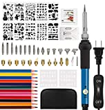 drtulz 56PCS Wood Burning Kit, Pyrography Pen with Adjustable Temperature for Wood Burning/Carving/Embossing/Soldering+ Soldering Tips + Stencil + Stand + Carrying Case