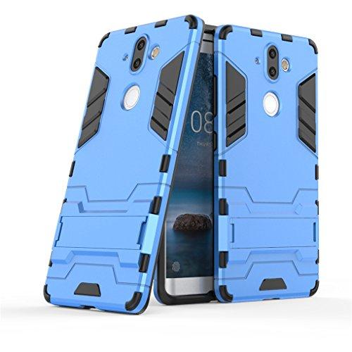 SATURCASE Nokia 8 Sirocco Funda, Híbrido 2 en 1 [PC & Silicona] Doble Capa Bumper Protector Funda Carcasa Case con Apoyo para Nokia 8 Sirocco (Azul)