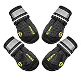 ECtENX Antiskid Dog Outdoor Indoor Boots Pet Snow Shoes with Adjustable Straps Rugged Nonslip Sole Black 4PCS (Size 6# 2.9'x2.5')