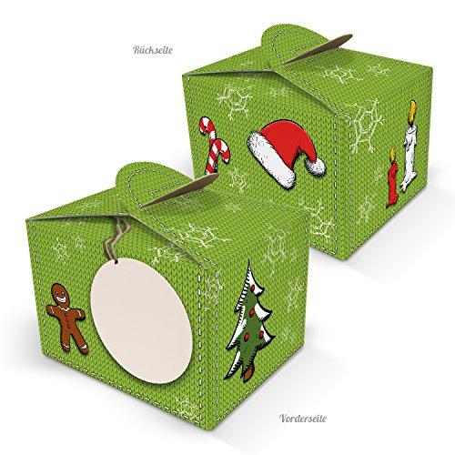 10 kleine minidoosjes Kerstmis rood groen verpakking geschenkdoos geschenkdoos 8 x 6,5 x 5,5 cm cadeaus kerstmis verpakken koekjes bonbonbonzen klantengeschenk medewerkers give-away