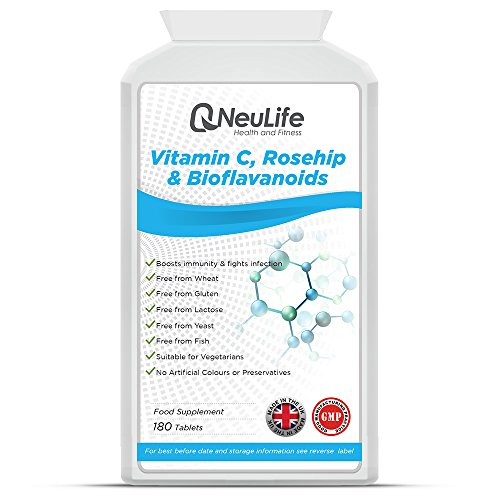 Vitamin C 1000mg with Rosehip 400mg and Bioflavanoids 20mg - 180 Tablets - by Neulife Health and Fitness