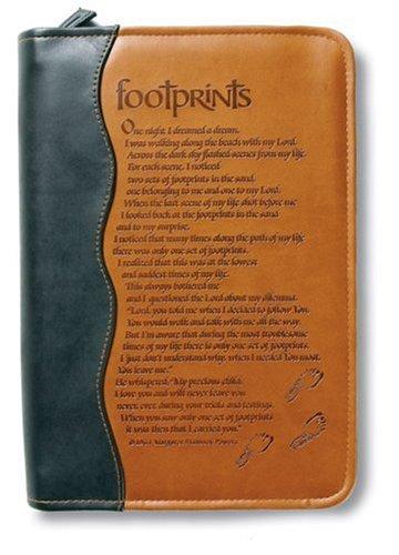 Italian Duo-Tone Footprints LG (Bible Cover)