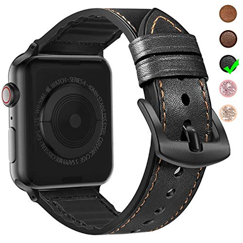 MARGE PLUS Compatible Apple Watch Band 44mm 42mm with Case, Sweatproof Hybrid Genuine Leather and Silicone Sports Watch Band with Protective Case Replacement for iWatch Series 5 4 3 2 1, Black