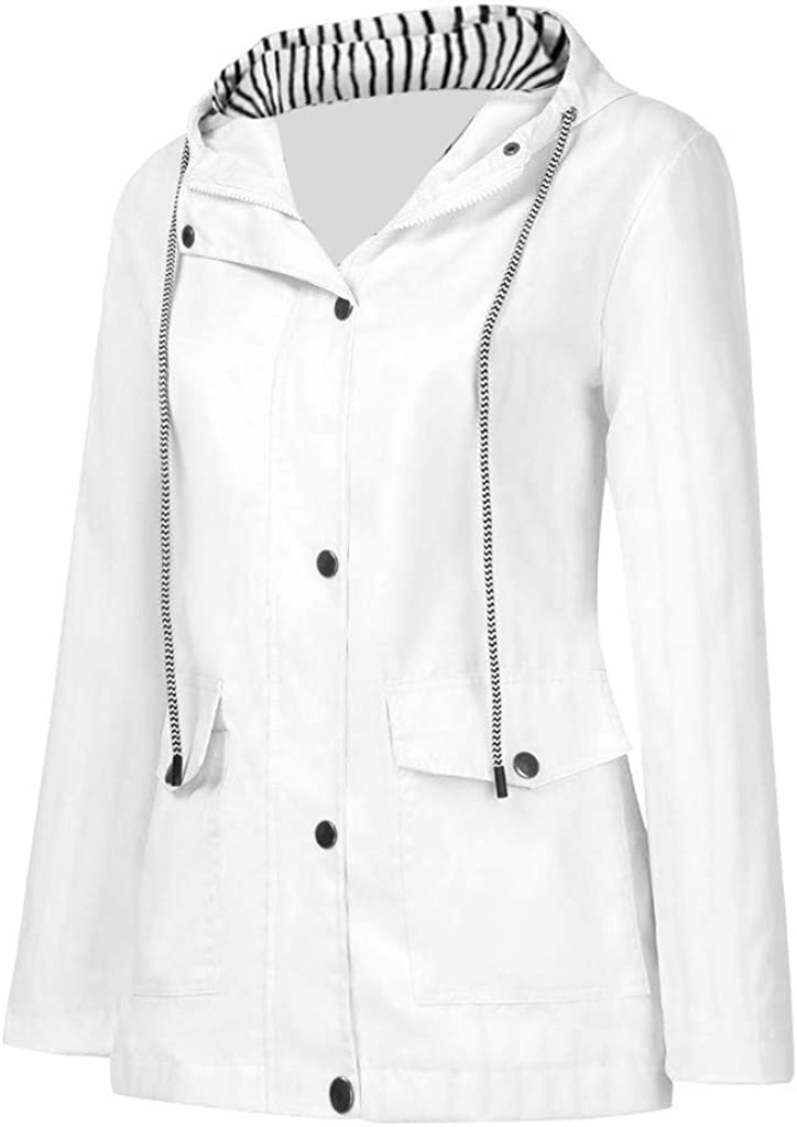 Xinantime Women's Trench Coats with Hood Solid Color Rain Jacket Striped Lining Windproof Button Down Zipper Blouse