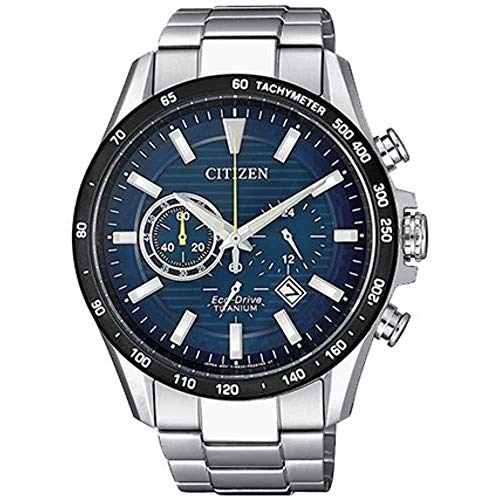 Citizen herrenuhr SUPER Titanium Chronograph BLAUES ZIFFERBLATT CA4444-82L