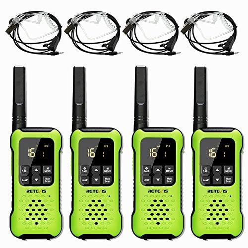 Retevis RT649P Walkie Talkie Recargable, Flotador Impermeable IP67, PMR 446 16 Canales Licencia Libre, Linterna LED, CTCSS/DCS VOX, Walkie Talkie con Auriculare (2 Pares, Verde)