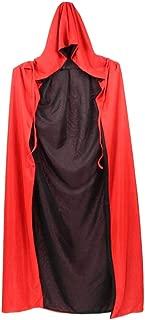 Beito Halloween Umhang Kreative Doppelseiten Tod Umhang Stilvolle Mysterious Mantel Cosplay mit Kapuze Mantel für Maskerade-Party-Schwarz und Rot 80cm