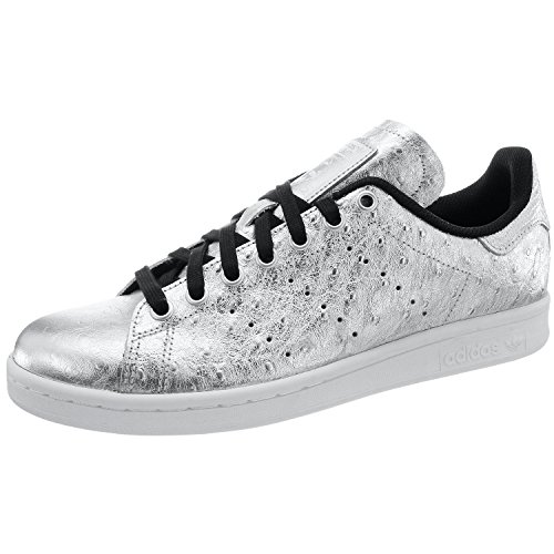 adidas Originals Stan Smith Schuhe Echtleder-Sneaker Turnschuhe Silber AQ4706, Größenauswahl:44