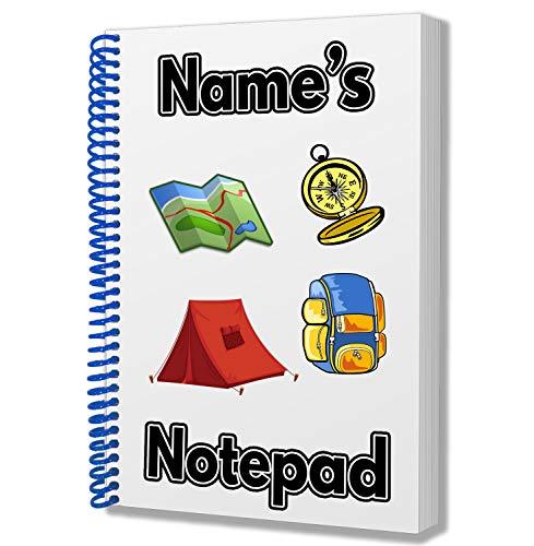 Tent/Camping/Reizen/Scouts Gepersonaliseerd geschenk - A5 Kladblok/Notebook - Tekeningen Doodles Diary Notes