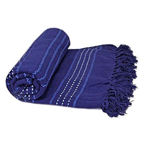 Just Contempo Überwurf/Tagesdecke, für Sofa/Bett, wärmend, gewebt, aus Baumwolle, 100prozent Baumwolle, Marineblau, Twin