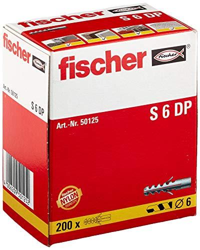 fischer S 6 DP - Spreizdübel mit 2-fach-Spreizung zum Befestigen von Bildern, Briefkästen in Beton,Vollziegel, und Naturstein uvm., Doppelpack - 200 Stück - Art.-Nr. 50125