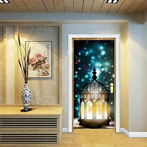 DNFurniture 3D Tür Aufkleber Laterne Silhouette 77X200CM Wandaufkleber selbstklebend Zuhause Tapete Geschenk Ansicht Wandbild dekorativ Stereo Kunst DIY Illustration