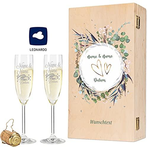 Leonardo Sektgläser mit Gravur von Namen & Datum im - Flower Wedding Design - als Geschenk zur Hochzeit, Verlobung oder zum Jahrestag - inkl. bedruckter Vintage-Holzkiste - das Hochzeitsgeschenk