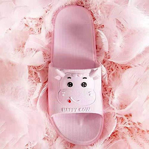 MQQM Chanclas de baño para Mujer,Sandalias de baño de Suela Gruesa, Pantuflas de Interior de Suela Blanda-Pink_40-41,Mujeres Zapatos de Piscina Chanclas