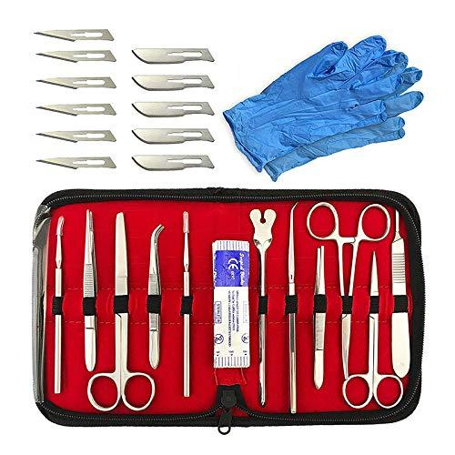 Kit de disección avanzada de alta calidad de acero inoxidable de 22 piezas para estudiantes de biología médica y veterinaria con hojas de mango de cuchillo de bisturí