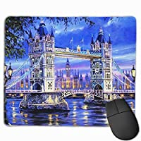 ロンドン橋 マウスパッド 25x30cm レーザー&光学マウス対応 防水/洗える/滑り止め 中型 ブラック