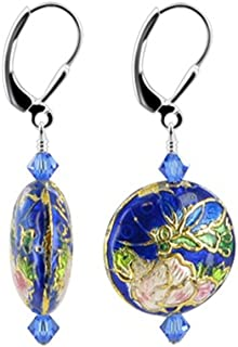 925 Sterling Silver Cloisonne Beads Leverback Drop Earrings Handmade with Swarovski Crystals