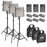 Neewer Kit de luz y Soporte de vídeo LED 480 Bicolor con batería y Cargador para Estudio, Youtube, vídeo, Marco de Metal Duradero, Regulable con Soporte en U, 3200-5600 K, CRI 96+ (3 Paquetes)