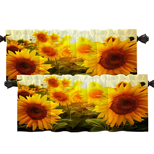 Batmerry Sun Sunflower Flower Kitchen Valances Half Window Curtain, Summer Meadow with Sunflowers Kitchen Valances for Windows Bedroom Heat Insulated Valance for Decor Reducing The Light 52x18 Inch