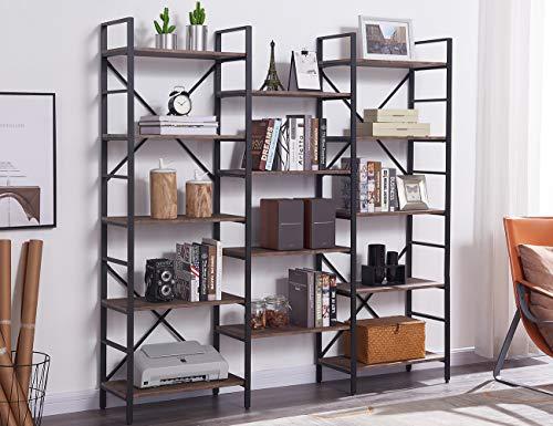 Walker Edison Furniture 2 Shelf Industrial Wood Metal Bookcase Bookshelf Storage, 60 Inch, Grey, Black