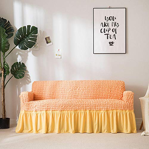 UTDFEOPSG Pet Sofa Slip Cover for Cats 3 Seater,Universal Fold Armless Sofa Bed Cover, Elastic Slipcover Sofa Protector Covers Orange 1 67-91inch