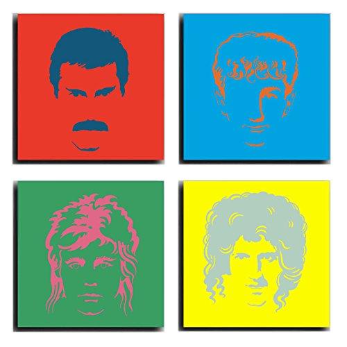 Cuadros Camara Poster Fotográfico Queen, Freddie Mercury Tamaño total: 63 x 63 cm XXL, Multicolor