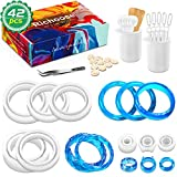 Richoose 42Pcs DIY Resin Silicone Mold Set Includes 3Pcs Ring Molds 5Pcs Bracelet Mould 34Pcs Making Tools, Cat's Ear Faceted Casting Circle Mold for Resin Epoxy Jewelry Crafts