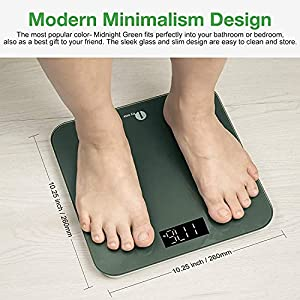 1 BY ONE Digital Scales for Body Weight, Bathroom Weighing Bath Scale, LED Display, High Capacity 400 lbs ,Tape Measure and Batteries Included, Green