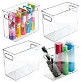 mDesign Slim Plastic Storage Container Bin with Handles - Bathroom Cabinet Organizer for Toiletries, Makeup, Shampoo, Conditioner, Face Scrubbers, Loofahs, Bath Salts - 5' Wide, 4 Pack - Clear