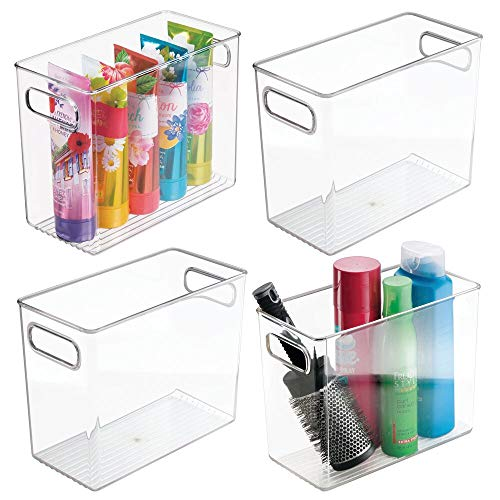 """mDesign Slim Plastic Storage Container Bin with Handles - Bathroom Cabinet Organizer for Toiletries, Makeup, Shampoo, Conditioner, Face Scrubbers, Loofahs, Bath Salts - 5"""" Wide, 4 Pack - Clear"""
