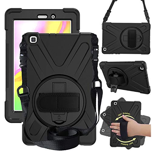 """Price comparison product image Case for Samsung Galaxy Tab A 8.0"""" (2019) with S Pen (SM-P200 / SM-P205),  Heavy Duty Shockproof Protective Case with 360 Rotating Kickstand,  Hand Strap / Shoulder Strap (Black)"""