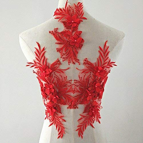 3d Lace Appliqué Flower Patch Great for DIY Decorated Craft Sewing Costume Evening Bridal Top 3 in 1 A5 (Red)